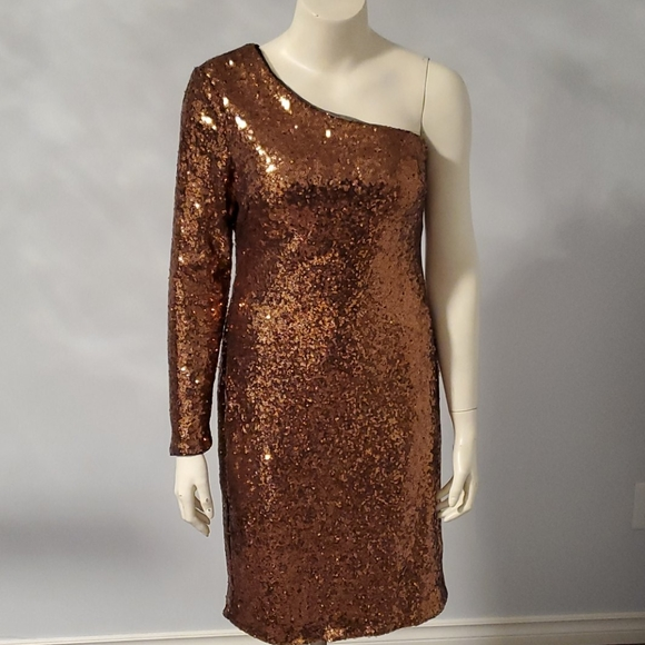 Laura rose gold one shoulder sequin dress